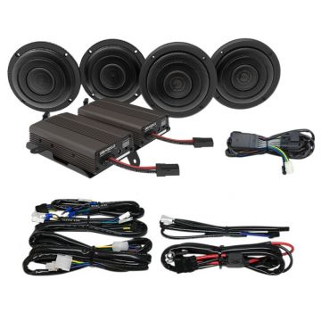 Wild Boar Audio 600 Watt Front & Rear Speaker with Amplifier Kit for 2014 and newer Harley-Davidson Ultra Classic, Limited and Trike models