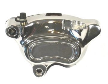 Chrome Left Front Brake Caliper with Pads for 2008 and Newer Harley-Davidson Softail and Dyna models