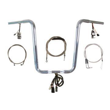 "1 1/4"" Chrome Narrow 16"" Prewired Ape Hanger PKit 1996-2005 Harley Dyna"