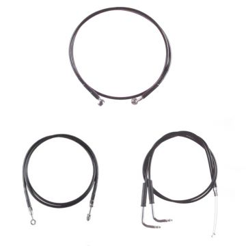 "Basic Black Cable Brake Line Kit for 12"" Tall Ape Hanger Handlebars on 2003-2006 Harley-Davidson Softail Deuce Fat Boy CVO models"