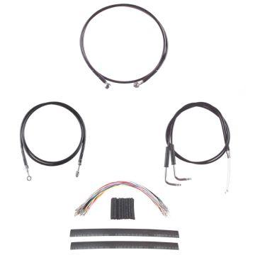 """Black Cable & Brake Line Complete kit for 14"""" Apes 2007-2008 Harley-Davidson Dyna Super Glide CVO models"""