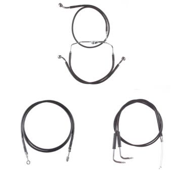 "Black Vinyl Coated +10"" Cable & Line Bsc Kit for 2009-2010 Harley-Davidson Dyna Fat Bob CVO"