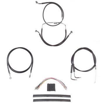 "Black Vinyl Coated +12"" Cable & Line Complete Kit for 2009-2010 Harley-Davidson Dyna Fat Bob CVO"
