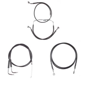 "Basic Black Vinyl Coated +14"" Cable & Brake Line Kit for 2004-2007 Harley-Davidson Electra Glide Classic SE and Ultra Classic SE models with Cruise Control"