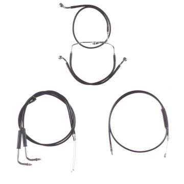 "Black +10"" Cable & Brake Line Bsc Kit for 1996-2006 Harley-Davidson Touring models with Cruise Control"