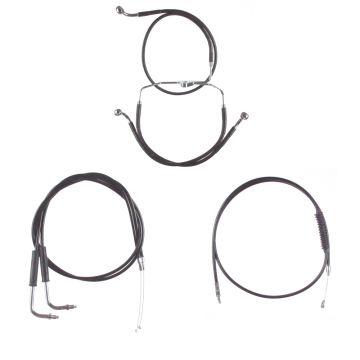"Basic Black Cable Brake Line Kit for 18"" Handlebars on 1996-2001 carbureted Harley-Davidson Touring Models without Cruise Control"