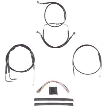 "Black +12"" Cable & Brake Line Cmpt Kit for 1996-2006 Harley-Davidson Touring models with Cruise Control"