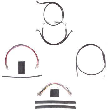 "Complete Black Cable Brake Line Kit for 22"" Handlebars on 2008-2013 Harley-Davidson Touring Models without ABS Brakes"