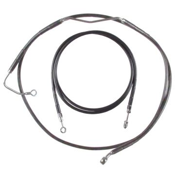 "Black +2"" Clutch & Brake Line Bsc Kit for 2017 and Newer Harley-Davidson Road King models with ABS brakes"