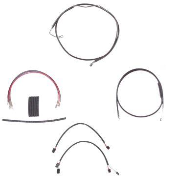 "Black +4"" Cable & Brake Line Cmpt Kit for 2014-2016 Harley-Davidson Road King models with ABS brakes"