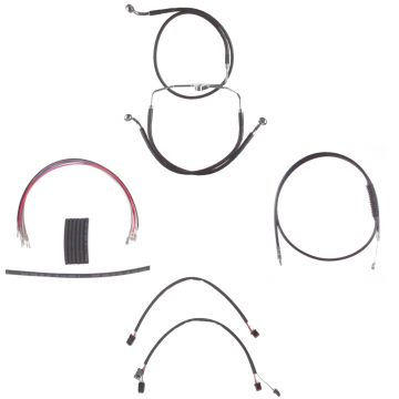 """Black +10"""" Cable & Brake Line Cmpt Kit for 2014-2016 Harley-Davidson Road King models without ABS brakes"""