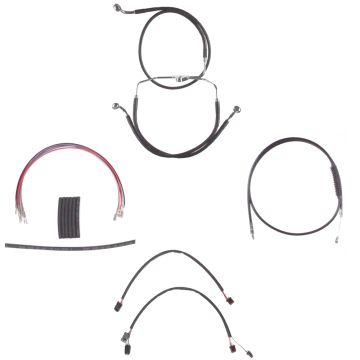 """Black +12"""" Cable & Brake Line Cmpt Kit for 2014-2016 Harley-Davidson Road King models without ABS brakes"""