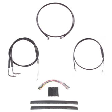 "Black +12"" Cable & Brake Line Cmpt Kit for 1990-1995 Harley-Davidson Dyna models"