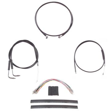 "Black +12"" Cable & Brake Line Cmpt Kit for 2006 & Newer Harley-Davidson Dyna without ABS brakes"
