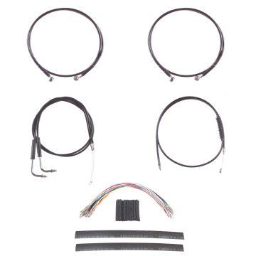 "Black Cable & Brake Line Mstr Kit 14"" for Apes on 2011-2015 Harley-Davidson Softail with ABS brakes"