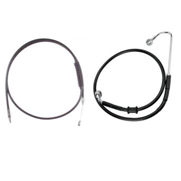 """Black +12"""" Cable & Brake Line Bsc Kit for 2016-2017 Harley-Davidson Softail Models with ABS brakes"""