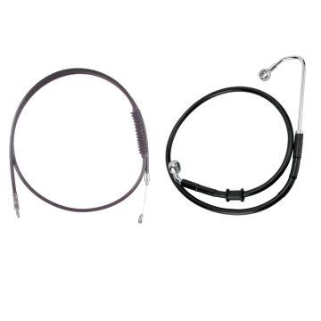 "Basic Black Cable Brake Line Kit for 20"" Handlebars on 2016-2017 Harley-Davidson Softail Models with ABS Brakes"
