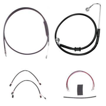 "Black +10"" Cable & Brake Line Cmpt Kit for 2016-2017 Harley-Davidson Softail Models with ABS brakes"