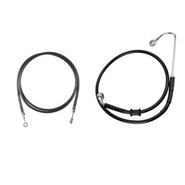 "Basic Black Vinyl Coated +4"" Hydraulic Line Kit for 2016-2017 Harley-Davidson Softail Breakout CVO models with a hydraulic clutch and with ABS Brakes"