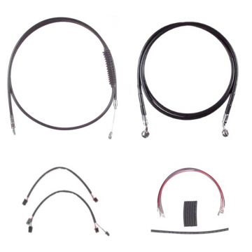 "Complete Black Cable Brake Line Kit for 20"" Handlebars on 2016-2017 Harley-Davidson Softail Models without ABS Brakes"