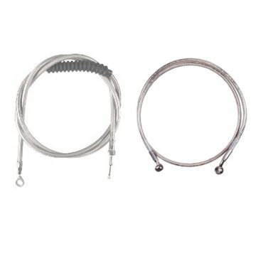 """Stainless +12"""" Cable & Brake Line Bsc Kit for 2018 & Newer Harley-Davidson Softail Models with ABS brakes"""
