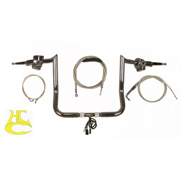 "Paul Yaffe 1 1/4"" Monkey Bar COMPLETE Handlebar Kit for 1996-2013 Harley Electra Glide, Street Glide, Ultra Classic"