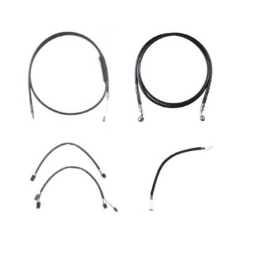 """Black +12"""" Cable & Brake Line Cmpt Kit for 2018 & Newer Harley-Davidson Softail Models without ABS brakes"""