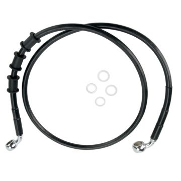 "+10"" Over Stock Front Black Vinyl Coated Brake Line for 2008 2015 Harley Softail Deluxe & 2012 2015 Slim, Fatboy, Fatboy Low models"