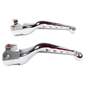 Chrome 4 Hole Wide Blade Ergonomic Brake and Clutch Levers 2007-2013 Harley-Davidson Sportster models