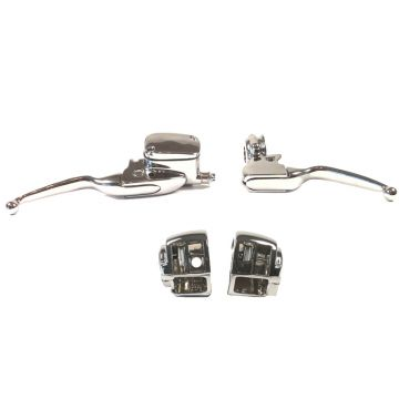Chrome Handlebar Control kit for 2008-2013 Harley-Davidson Road King models without Cruise Control