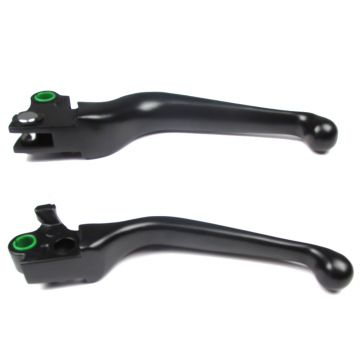Black Smooth Wide Blade Ergonomic Levers for 1997 & Newer Harley-Davidson Dyna & Softail models