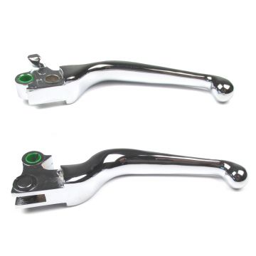 Chrome Smooth Wide Blade Ergonomic Levers 1997 & Newer Harley-Davidson Dyna & Softail Models