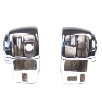 Chrome Handlebar Switch Housings for 2008-2013 Harley-Davidson Touring models with Cruise Control & AM/FM Radio