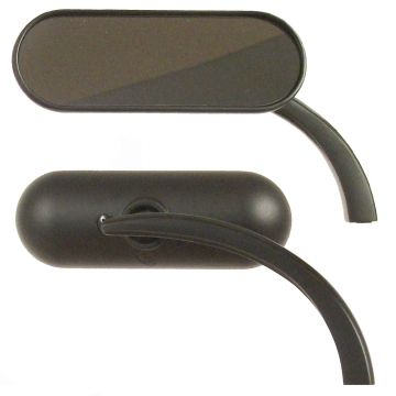 Arlen Ness Black Micro Mini Oval Mirrors for Harley-Davidson models