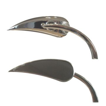 Arlen Ness Chrome Micro Mini RAD II Teardrop Mirrors for Harley Davidson models