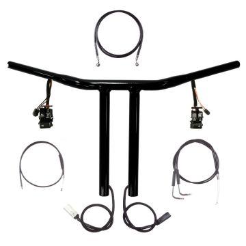 "1 1/4"" BBlack 12"" Chopper T Prewired Handlebar Kit 1996-2005 Harley Dyna"