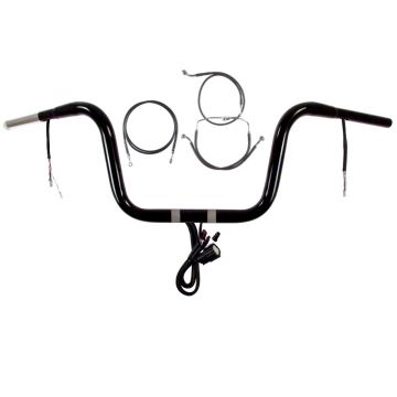 "1 1/4"" BBlack 10"" Prewired Handlebar Kit 2015 & Up Harley Road Glide No ABS"