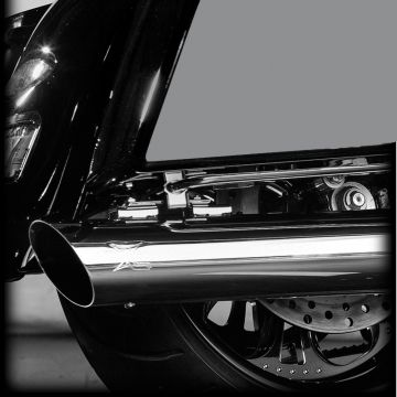 "RC Components Chrome Slash Cut Down 4.0"" Slip on Mufflers for 2017 and Newer Harley-Davidson Touring models"