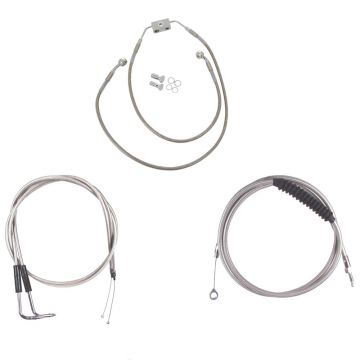 "Basic Stainless Cable Brake Line Kit for 16"" Handlebars on 2012 & Newer Harley-Davidson Dyna Models with ABS Brakes"