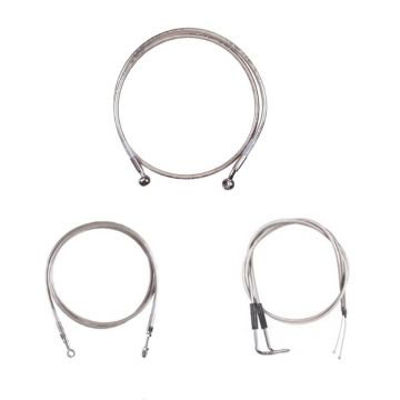 "Basic Stainless Cable Brake Line Kit for 12"" Tall Ape Hanger Handlebars on 2003-2006 Harley-Davidson Softail Deuce Fat Boy CVO models"