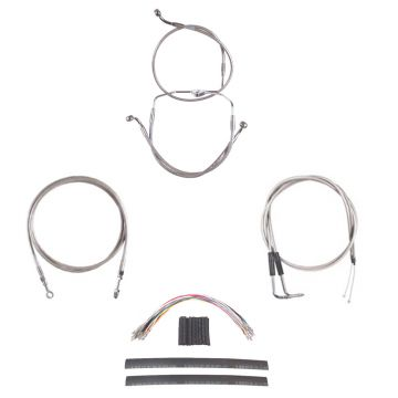 "Stainless Braided +12"" Cable & Line Complete Kit for 2009-2010 Harley-Davidson Dyna Fat Bob CVO"