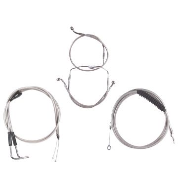"Basic Stainless Cable Brake Line Kit for 14"" Handlebars on 2007 Harley-Davidson Touring Models with Cruise Control"