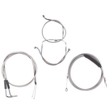 Basic Stainless Cable Brake Line Kit for Stock Height Handlebars on 2007 Harley-Davidson Touring Models without Cruise Control