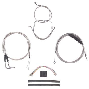 """Complete Stainless Cable Brake Line Kit for 22"""" Handlebars on 2007 Harley-Davidson Touring Models without Cruise Control"""