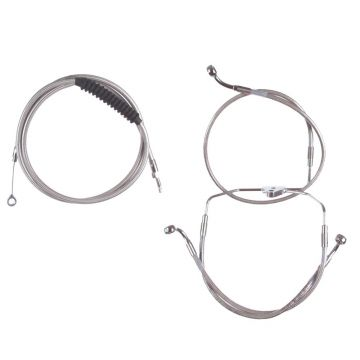 """Stainless +14"""" Cable & Brake Line Bsc Kit for 2014-2016 Harley-Davidson Road King models without ABS brakes"""