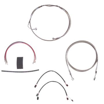 "Complete Stainless Hydraulic Line Kit for 12"" Handlebars on 2014-2015 Harley-Davidson Street Glide, Road Glide, Ultra Classic and Limited Models with ABS brakes"