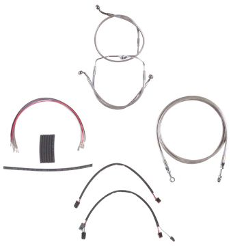 "Complete Stainless Hydraulic Line Kit for 14"" Handlebars on 2014-2015 Harley-Davidson Street Glide, Road Glide models without ABS brakes"