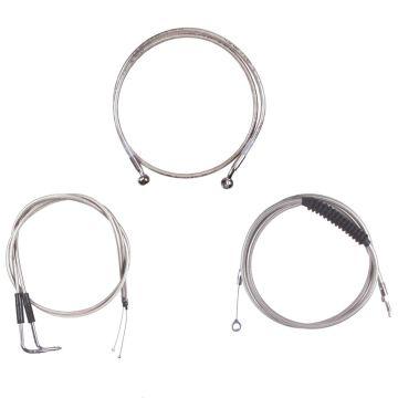 """Basic Stainless Cable Brake Line Kit for 12"""" Tall Ape Hanger Handlebars on 1996-2005 Harley-Davidson Dyna Models"""