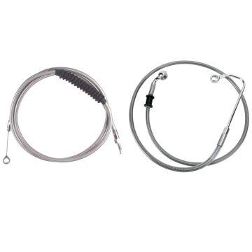 "Basic Stainless Cable Brake Line Kit for 16"" Handlebars on 2016-2017 Harley-Davidson Softail Models with ABS Brakes"
