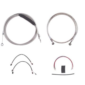 "Complete Stainless Cable Brake Line Kit for 12"" Handlebars on 2016-2017 Harley-Davidson Softail Models without ABS Brakes"